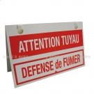 "Chevalet PVC 3 mm ""Attention Tuyau"" fond rouge - Format 400 x 245"
