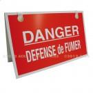 """Chevalet PVC 3 mm """"Défense de Fumer"""" fond rouge - Format 400 x 245"""