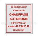 """Adhésif d'information """"Chauffage autonome"""" 85 x 95"""