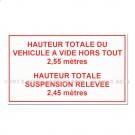 """Adhésif d'information """"Hauteur Totale ... """" 100 x 200"""