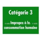 """Adhésif d'information """"Catégorie 3 - Impropre à la consommation humaine"""""""