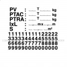 Plaque de tare adhésive avec chiffres détachables