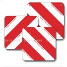 Panneaux carrés 423 x 423 coins ronds alu 1 mm Droite/Gauche - Rayés rouge blanc - Norme TPESC - Classe A