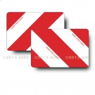 Panneaux 423 x 282 coins ronds alu 1 mm Droite/Gauche - Rayés rouge blanc - Norme TPESC - Classe A